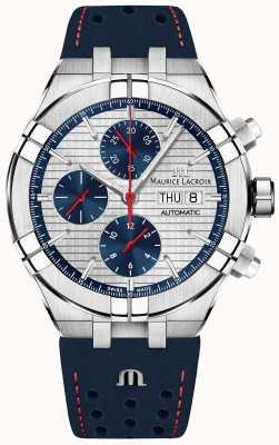 Maurice Lacroix Aikon Automatik Limited Edition blau / rotes Zifferblatt blaues Armband AI6038-SS001-133-1