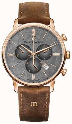 Maurice Lacroix Eliros Chronograph strukturiertes Zifferblatt braunes Lederarmband EL1098-PVP01-210-1