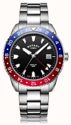 Rotary | Herren Edelstahl Armband | schwarzes Zifferblatt | GB05108/30