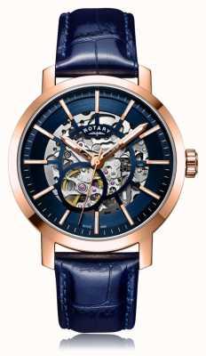 Rotary | Herren blaues Lederband | roségoldes Gehäuse | GS05354/05