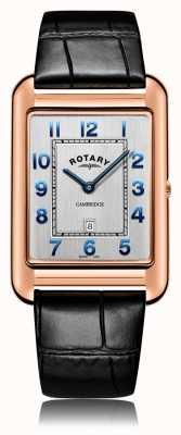 Rotary | Herren schwarzes Lederband | roségoldes Gehäuse | GS05284/70