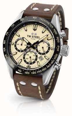 TW Steel | Herren braunes Lederband | Creme-Chronograph | CHS2