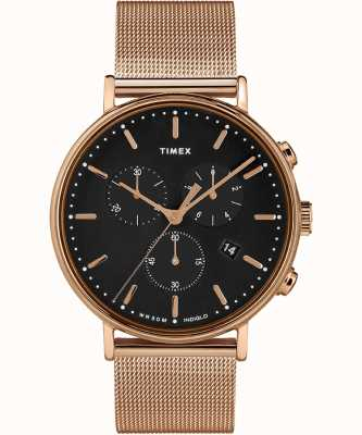 Timex | Fairfield Chrono schwarzes Zifferblatt | roségoldfarbenes Gehäuse | TW2T37100D7PF