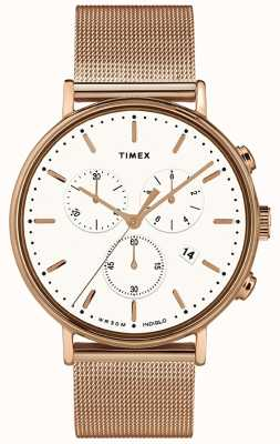 Timex | Fairfield Chrono weißes Zifferblatt | roségoldfarbenes Gehäuse | TW2T37200D7PF