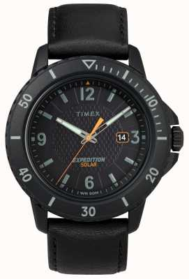 Timex   Gallatin Solar schwarzes Leder   schwarzes Zifferblatt   TW4B14700D7PF