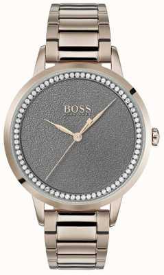 Boss | dämmerungsuhr für damen | Edelstahl | graues Zifferblatt | 1502463