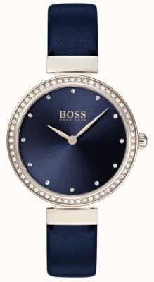 Boss | blaues Lederarmband für Damen | blaues Zifferblatt | 1502477