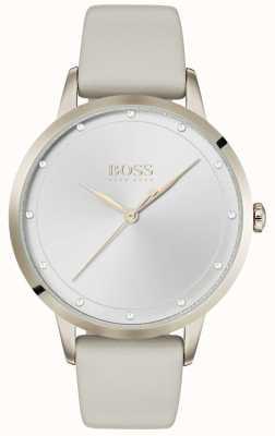 Hugo Boss | weißes Lederarmband für Damen | weißes Zifferblatt | 1502461
