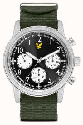 Lyle & Scott Mens befehlsgrün nato armband schwarzes zifferblatt LS-6005-02