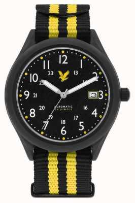 Lyle & Scott Automatisches schwarzes schwarzes Nato-Armband mit schwarzem Zifferblatt LS-6006-01