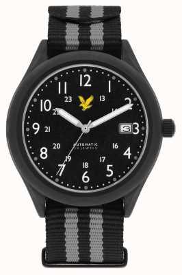 Lyle & Scott Automatisches schwarzes Schwarzes Nato-Armband mit schwarzem Zifferblatt LS-6006-03