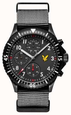 Lyle & Scott Graues Herren Nato-Armband mit goldenem Adler und schwarzem Zifferblatt LS-6008-03