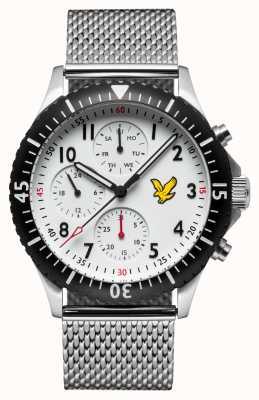 Lyle & Scott Herren Golden Eagle Edelstahlgewebe Armband weißes Zifferblatt LS-6008-22