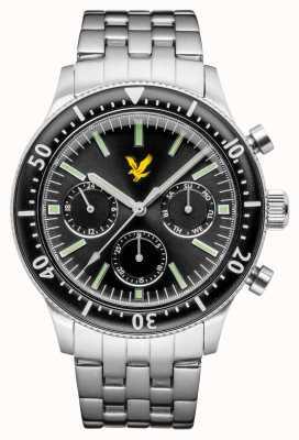 Lyle & Scott Herren Jacklin Edelstahl Armband schwarzes Zifferblatt LS-6009-11