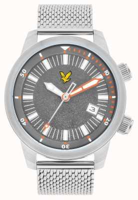 Lyle & Scott Herren-Armband aus Edelstahl-Mesh mit grauem Zifferblatt LS-6010-11