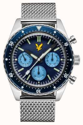 Lyle & Scott Mens Highland Edelstahlgewebe Armband blaues Zifferblatt LS-6011-22