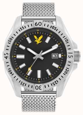 Lyle & Scott Taktisches Edelstahl-Armband für Herren mit schwarzem Zifferblatt LS-6017-11
