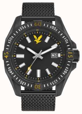 Lyle & Scott Taktisches schwarzes Armband mit pvd-plattiertem Mesh-Armband LS-6017-22