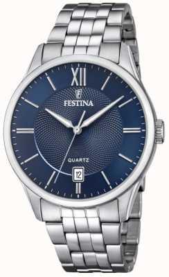 Festina | Herren Edelstahl Armband | blaues Zifferblatt | F20425/2