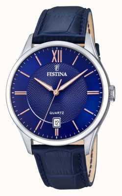 Festina   Herren Edelstahl   blaues / rosafarbenes Zifferblatt   blueleather   F20426/5