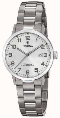 Festina | Titanuhr für Damen | silbernes Zifferblatt | Titan-Armband | F20436/1