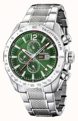Festina | Herren Chronograph & Dual Time | grünes Zifferblatt | Stahlarmband F20439/3