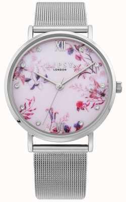 Lipsy | Silberarmband für Damen | hellrosa florales Zifferblatt | LP643