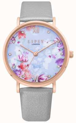 Lipsy | graues Lederband für Damen | hellblaues Blumenzifferblatt | LP657