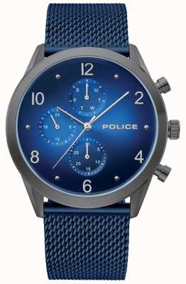 Police | Herren Waffenkoffer blau Multi Dial | blaues Mesh-Armband | 15922JSU/03MMBL