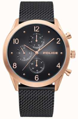 Police | Roségoldgehäuse für Herren | schwarzes Maschenband | schwarzes Multi-Dial 15922JSR/02MMB