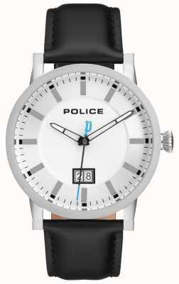 Police | herren collin uhr | schwarzes Lederband | silbernes Zifferblatt | 15404JS/01