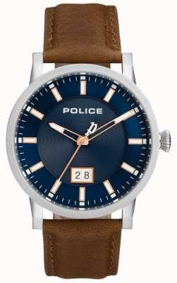 Police | herren collin uhr | braunes Lederband | blaues Zifferblatt | 15404JS/03