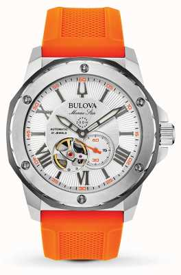 Bulova | Männer | Meeresstern | automatisch | orangefarbenes Kautschukband | 98A226