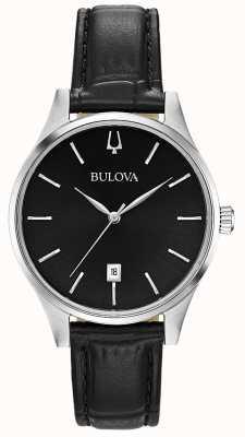 Bulova Datumsanzeige aus schwarzem Leder für Damen 96M147