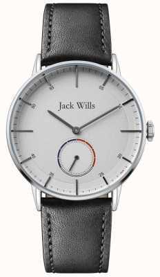 Jack Wills | Herren Batson II | schwarzes Lederarmband | weißes Zifferblatt | JW002SLBK