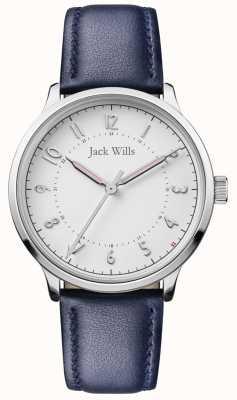 Jack Wills | Frauen wissen | blaues Lederband | weißes Zifferblatt | JW017WHNV