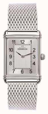 Michel Herbelin Herren Esprit Art Deco Edelstahl Mesh Silber Zifferblatt 17468/22BM