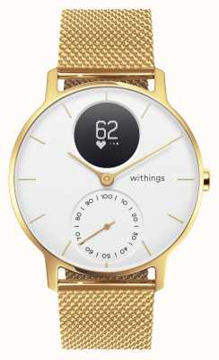 Withings Stahl hr 36mm Limited Edition Gold Mailand (+ Kautschukband) HWA03B-36WHT-GOLD-MESH GOLD-ALL-INT