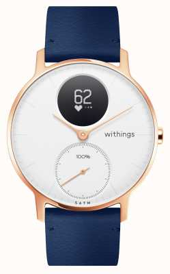 Withings Stahl hr 36mm roségoldblau leder (+ graues silikonband) HWA03B-36WHITE-RG-L.BLUE-ALL-INTER