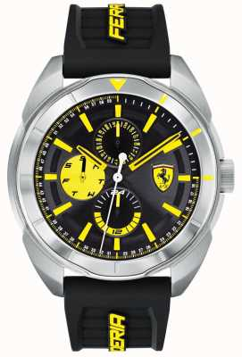 Scuderia Ferrari | herren forza | schwarzes Kautschukband | schwarzes / gelbes Zifferblatt | 0830575