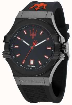 Maserati Potenza schwarzes Zifferblatt schwarzes Kautschukband R8851108020