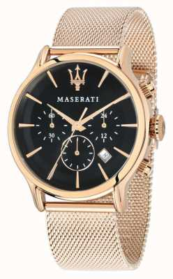 Maserati Epoca Chronograph schwarzes Zifferblatt Roségold pvd Mesh R8873618005