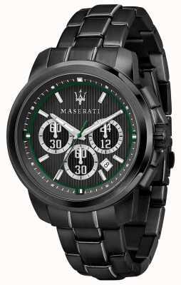 Maserati Royale Chronograph schwarzes Zifferblatt schwarzer Edelstahl R8873637004