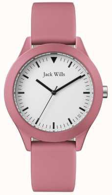 Jack Wills | Herren rosa Kautschukband | weißes Zifferblatt | JW009JWPK