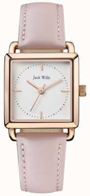Jack Wills | Damen mit rosafarbenem Lederband | weißes Zifferblatt | JW016WHPK