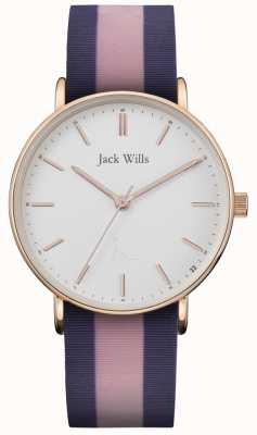 Jack Wills | Sandhill Zweifarbiges Silikonarmband für Damen weißes Zifferblatt | JW018PKBL