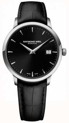 Raymond Weil | herren toccata aus schwarzem leder schwarzes Zifferblatt | 5485-STC-20001
