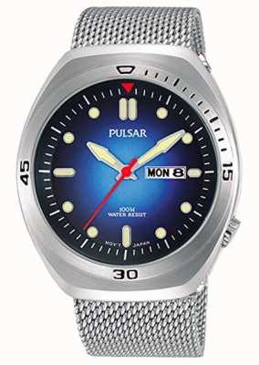 Pulsar Blaues Herren Zifferblatt Edelstahlgewebe extra Lederband PJ6097X2