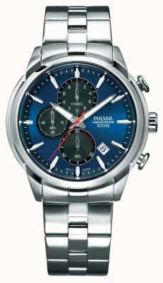 Pulsar Herren Chronograph blaues Zifferblatt Edelstahlarmband PM3115X1