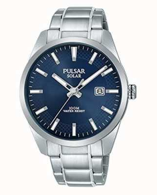 Pulsar Herrenarmband mit blauem Zifferblatt aus Edelstahl PX3181X1